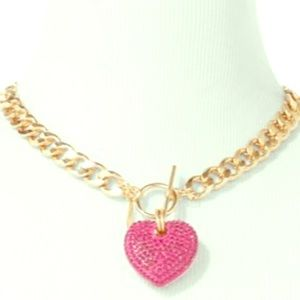 NWT NY&Co gold rhinestone Heart ChainLink Necklace
